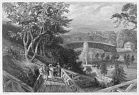 0092171 © Granger - Historical Picture ArchivePHILADELPHIA: PARK, 1839.   Fairmount Gardens and the covered bridge across the Schuylkill River. Steel engraving, English, 1839.