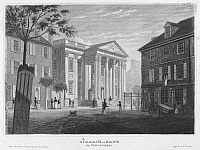 0092172 © Granger - Historical Picture ArchivePHILADELPHIA: BANK, 1827.   Girard's Bank in Philadelphia, the former First Bank of the United States, bought by Stephen Girard in 1811. Etching, German, 1827.