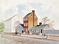 0113632 © Granger - Historical Picture ArchiveFOREIGN AFFAIRS, 1783.   The United States Department of Foreign Affairs (forerunner of the Department of State) at 13 South Sixth Street (the brick house), Philadelphia, Pennsylvania, from October 1781 to June 1783. Watercolor, 19th century, by D.J. Kennedy, after a 1783 sketch.