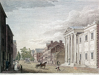 0125642 © Granger - Historical Picture ArchiveFIRST BANK OF U.S., 1798.   The First Bank of the United States in Third Street, Philadelphia. Line engraving by William Birch & Son, 1798.
