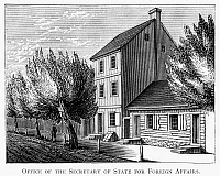 0125698 © Granger - Historical Picture ArchivePHILADELPHIA: CAPITAL.   The office of the Secretary of State for Foreign Affairs in Philadelphia, while the city was the temporary capital of the United States, 1790-1800. Wood engraving, American, 19th century.
