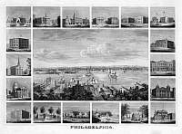 0265682 © Granger - Historical Picture ArchivePHILADELPHIA, c1862.   A view of Philadelphia, Pennsylvania and surrounding landmarks. Engraving by John Serz, c1862.