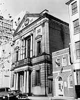 0268192 © Granger - Historical Picture ArchiveBANK OF NORTH AMERICA, 1959.   Chartered by the Second Continental Congress in 1781, the Bank of North America, located on 305-307 Chestnut Street, Philadelphia, Pennsylvania, was the first national bank. Photograph, 1959.