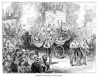 0268394 © Granger - Historical Picture ArchiveCENTENNIAL PARADE, 1876.   Centennial parade by torchlight through Philadelphia, Pennsylvania, 4 July 1876. Contemporary English engraving.