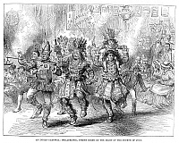 0268395 © Granger - Historical Picture ArchiveCENTENNIAL PARADE, 1876.   Carnival performers at the Centennial parade by torchlight through Philadelphia, Pennsylvania, 4 July 1876. Contemporary English engraving.