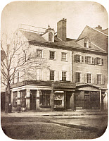 0527517 © Granger - Historical Picture ArchivePHILADELPHIA, c1855.   Storefronts on the corner of 5th Street and Chestnut Street in Philadelphia, Pennsylvania. Photograph by Frederick De Bourg Richards, c1855.