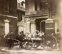 0527520 © Granger - Historical Picture ArchivePHILADELPHIA, c1855.   A horsedrawn steam driven water pump on display in front of a firehouse in Philadelphia, Pennsylvania. Photograph by Frederick De Bourg Richards, c1855.