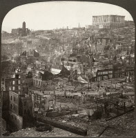 0005506 © Granger - Historical Picture ArchiveSAN FRANCISCO EARTHQUAKE.   The ruins of Nob Hill and the Fairmount Hotel, with Chinatown in the foreground, following the earthquake of 18 April 1906. Stereograph, 1906.