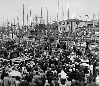 0176206 © Granger - Historical Picture ArchiveSAN FRANCISCO, c1940.   The Blessing of the San Francisco fishing fleet at Pier 39-1/2, Fisherman's Wharf. Photograph, c1940.