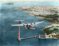 0259366 © Granger - Historical Picture ArchiveCHINA CLIPPER, 1935.   The Pan American Martin M-130 flying boat 'China Clipper,' leaving San Francisco on the first transpacific airmail flight to Honolulu, Midway, Wake, Guam, and Manila, 22 November 1935. Photograph, digitally colored by Granger, NYC -- All rights reserved.