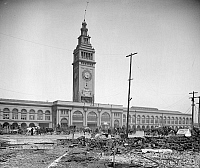 0260024 © Granger - Historical Picture ArchiveSAN FRANCISCO, c1906.   The Ferry Building in San Francisco, California, after the earthquake. Photograph, c1906.