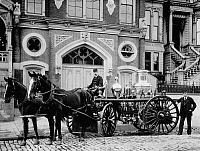 0267149 © Granger - Historical Picture ArchiveSAN FRANCISCO: FIREHOUSE.   Firefighters and fire engine outside the Engine 15 Firehouse in San Francisco. Photograph by W. Cathcart, 10 April 1894.