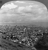 0350073 © Granger - Historical Picture ArchiveCALIFORNIA: SAN FRANCISCO.   View from Twin Peaks, looking down Market Street toward the Ferry Building in San Francisco, California. Stereograph, early 20th century.