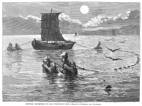 0355058 © Granger - Historical Picture ArchiveSAN FRANCISCO: FISHERMEN.   Chinese fishermen in San Francisco Bay, California. Wood engraving, American, 1875.