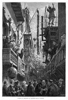 0355060 © Granger - Historical Picture ArchiveSAN FRANCISCO: CHINATOWN.   A celebration in Chinatown, San Francisco, California. Wood engraving after a drawing by Paul Frenzeny, 1880.