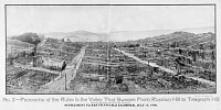 0620220 © Granger - Historical Picture ArchiveSAN FRANCISCO EARTHQUAKE,   1906. The ruins of San Francisco from Russia Hill to Telegraphs Hill in the aftermath of the April earthquake and fire. Alcatraz Island is visible in the background. Photograph from the San Francisco Examiner, 15 July 1906.