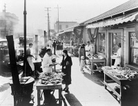 0622729 © Granger - Historical Picture ArchiveSAN FRANCISCO, 1933.   Seafood stalls at Fisherman's Wharf, San Francisco. Photograph, 1933.