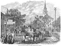 0077188 © Granger - Historical Picture ArchiveSAVANNAH, GEORGIA, 1867.   A view of Bay Street, Savannah, Georgia. Wood engraving, American, 1867.