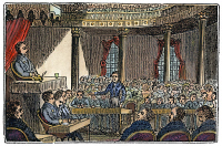 0041606 © Granger - Historical Picture ArchiveSENATE OF UNITED STATES.   The United States Senate in session at the Capitol in Washington, D.C. Wood engraving, American, 1836.