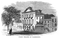 0066143 © Granger - Historical Picture ArchiveD.C.: FORD'S THEATRE, 1865.   Ford's Theatre in Washington, D.C., where John Wilkes Booth shot and killed President Abraham Lincoln, 14 April 1865. Wood engraving from a contemporary American newspaper.