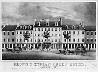 0132695 © Granger - Historical Picture ArchiveWASHINGTON, D.C.: HOTEL.   Brown's Indian Queen Hotel on Pennsylvania Avenue at 6th Street in Washington, D.C. Lithograph, American, 1834.