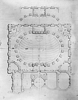 0132703 © Granger - Historical Picture ArchiveCAPITOL: PLAN, 1804.   Ground floor plan for the south wing of U.S. Capitol in Washington, D.C. Architectural drawing by Benjamin H. Latrobe, 1804.