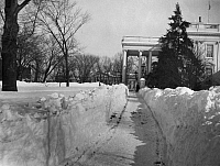 0132826 © Granger - Historical Picture ArchiveWHITE HOUSE IN SNOW.   The White House in Washington, D.C., after a heavy snowfall, c1935.