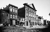 0216734 © Granger - Historical Picture ArchiveWASHINGTON: FORD'S THEATRE.   A view of Ford's Theatre, site of the assassination of President Abraham Lincoln in 1865, and adjacent buildings on 10th Street Northwest in Washington, D.C. Photographed by Mathew Brady, c1875.
