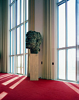 0260529 © Granger - Historical Picture ArchiveD.C.: KENNEDY CENTER.   A bronze bust of John F. Kennedy by Robert Berks in the foyer of the Kennedy Center in Washington, D.C. Photograph by Carol Highsmith, late 20th century.