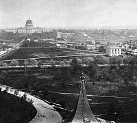 0265197 © Granger - Historical Picture ArchiveWASHINGTON: NATIONAL MALL.   A view of the National Mall in Washington, D.C., looking towards the United States Capitol (with dome still under construction) from the roof of the Smithsonian Institution. Photographed in 1863.