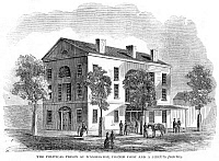 0266344 © Granger - Historical Picture ArchiveWASHINGTON, D.C.: PRISON.   Political prison on the Corner of First Street and A Street in Washington, D.C., during the Civil War. Wood engraving, American, 1861.