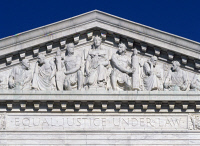 0407589 © Granger - Historical Picture ArchiveU.S. SUPREME COURT.   Sculptures in the pediment of the U.S. Supreme Court Building in Washington, D.C. Photograph by Carol M. Highsmith, c1990.