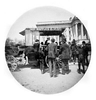 0409521 © Granger - Historical Picture ArchiveWAFFLE VENDOR, 1889.   Crowd in front of a waffle vendor outside of the Treasury building in Washington, D.C. Photograph by Uriah Hunt Painter, April 1889.