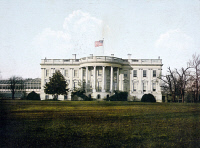 0621949 © Granger - Historical Picture ArchiveWHITE HOUSE, c1910.   The White House with an American flag flying above, in Washington, D.C. Photochrome, c1910.