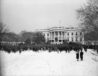 0622380 © Granger - Historical Picture ArchiveROOSEVELT INAUGURATION.   A crowd gathers on the lawn of the White House to witness the fourth inauguration of President Franklin D. Roosevelt. Photograph, 20 January 1945.