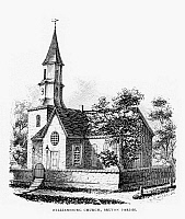 0131825 © Granger - Historical Picture ArchiveWILLIAMSBURG: CHURCH.   Bruton Parish Church, completed in 1715, in Willamsburg, Virginia. Wood engraving, American, 1857.