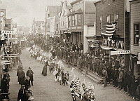 0100940 © Granger - Historical Picture ArchiveALASKA: JULY FOURTH, 1901.   Parade of public school children at Nome, Alaska, 4 July 1901.