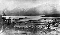 0111727 © Granger - Historical Picture ArchiveALASKA: SKAGWAY, 1899.   View of the piers on the Taiya Inlet at Skagway, Alaska, 1899.