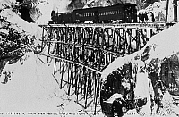 0176401 © Granger - Historical Picture ArchiveALASKA: SKAGWAY, 1899.   First passenger train over the narrow gauge White Pass and Yukon Route near Skagway, Alaska. Photograph, 20 February 1899.