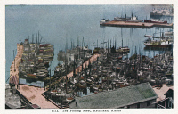 0324261 © Granger - Historical Picture ArchiveALASKA: KETCHIKAN, c1930.   A fleet of fishing boats at Ketchikan, Alaska. Postcard, American, c1930.