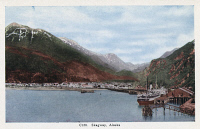 0324283 © Granger - Historical Picture ArchiveALASKA: SKAGWAY, c1930.   View of Skagway, on the Taiya Inlet, Alaska. Postcard, American, c1930.