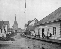 0353401 © Granger - Historical Picture ArchiveALASKA: SITKA, c1890.   A street in Sitka, Alaska. Photograph, c1890.