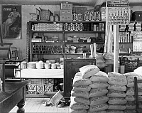 0120332 © Granger - Historical Picture ArchiveGENERAL STORE, 1936.   An interior of a general store in Moundville, Alabama. Photograph by Walker Evans in July 1936.
