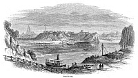 0322915 © Granger - Historical Picture ArchiveFORT YUMA, 1864.   View of Fort Yuma, California, across the Colorado River from Arizona. Wood engraving, American, 1864.