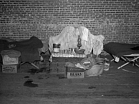 0120213 © Granger - Historical Picture ArchiveARKANSAS: REFUGEE, 1937.  Household goods of an African American flood refugee in a temporary infirmary operated by the Red Cross at Forrest City, Arkansas. Photograph by Walker Evans in February 1937.