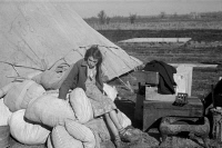 0325577 © Granger - Historical Picture ArchiveARKANSAS: FLOOD CAMP, 1937.   A young girl in a camp for white flood refugees at Forrest City, Arkansas. Photograph by Walker Evans, February 1937.