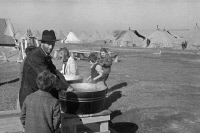 0325579 © Granger - Historical Picture ArchiveARKANSAS: FLOOD CAMP, 1937.   Washing up facilities in a camp for white flood refugees at Forrest City, Arkansas. Photograph by Walker Evans, February 1937.