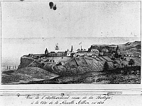 0002255 © Granger - Historical Picture ArchiveCALIFORNIA: RUSSIAN FORT.   A view of the Russian establishment of Bodega (Fort Ross) on the coast of New Albion (California) in 1828. Lithograph, French, 1833.