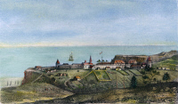 0043528 © Granger - Historical Picture ArchiveCALIFORNIA: RUSSIAN FORT.   A view of the Russian establishment of Bodega (Fort Ross) on the coast of New Albion (California) in 1828. Lithograph, French, 1833.