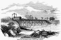 0099263 © Granger - Historical Picture ArchiveCALIFORNIA: AMERICAN RIVER.   Bridge across the American River at Leslie's Ferry, California. Wood engraving, 1852.